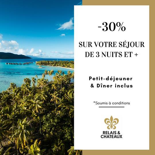 -30% sur votre séjour de 3 nuits et +   Le Taha'a Island Resort & Spa – Relais & Châteaux